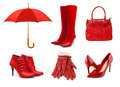 Set of red clothing and accessories on white background Royalty Free Stock Image