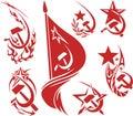Set of red color soviet symbols