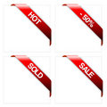 Set of red corner ribbons Royalty Free Stock Photo