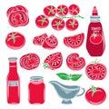 Set red decorative tomato vegetables Royalty Free Stock Photo
