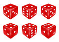 Set of a red dice three dimensions