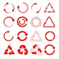 Set of red different vector arrows on white isolated background Royalty Free Stock Photo