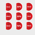 Set of red discount labels vector Royalty Free Stock Photo