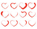 Set Of Red Drawing Hearts. Vec...