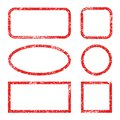 Set red frames of rubber stamp icons, grunge scratching post stamp templates isolated -