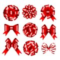 Set of red gift bows. Royalty Free Stock Photos