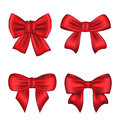 Set red gift bows isolated on white background illustration Royalty Free Stock Photos