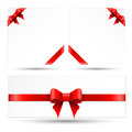 Set red gift bows with ribbons on a white background Stock Photos