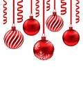 Set red glass balls with serpentine for Merry Christmas, isolate Royalty Free Stock Photo