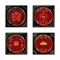 Set red gold-framed labels Stock Photography