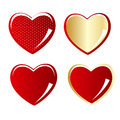 Set of red and gold heart vector illustration Stock Photography
