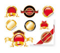 Set of Red Gold Label Stickers Royalty Free Stock Photo