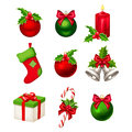 Set of red and green Christmas decorations. Vector illustration. Royalty Free Stock Photo