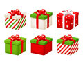 Set of red and green Christmas gift boxes. Vector illustration. Royalty Free Stock Photo