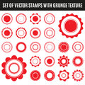 Set of red grunge stamp. Round shapes. Vector illustration Royalty Free Stock Photo