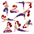 stock image of  Set of 8 red haired woman doing diversity yoga exercises. Yoga girls collection. Girls in different asanas.Hand drawn textured