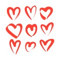 Set of red hand drawn heart