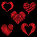 Set red heart embroidery stitches imitation on the black backgro