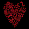Set red heart embroidery stitches imitation in the heart form on