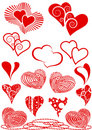 Set of red hearts as design elements Royalty Free Stock Photography