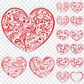 Set of red hearts made of curls