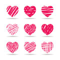 Set Of Red Hearts. Vector Illu...