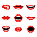 Set of red kissing and smiling cartoon lips. Royalty Free Stock Photo