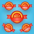 Set of red labels for any purpose to mark as the best offer price seller choice or something else Royalty Free Stock Photography