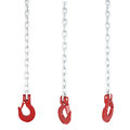 Set of red metal hook hanging on chain Royalty Free Stock Photo
