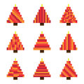 Set red pixel Christmas trees in vector Royalty Free Stock Photo