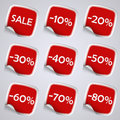 Set of red rectangle sale stickers eps Royalty Free Stock Photos