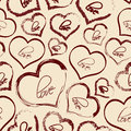 Set of red retro love heart grunge seamless pattern Royalty Free Stock Photo