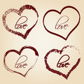 Set of red retro love heart grunge symbols Royalty Free Stock Photo