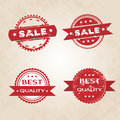 Set of red retro style badges tags with grunge texture and stars Royalty Free Stock Photography