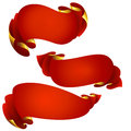Set of 3 red ribbon banners
