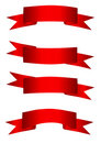 Set-of-red-ribbons Royalty Free Stock Image