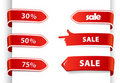 Set of red sale labels. Royalty Free Stock Photo