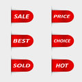 Set of red sales labels Royalty Free Stock Photos