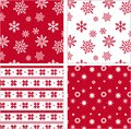 Set of red seamless snowflake pattern patterns this is file eps format Stock Image