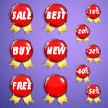 Set of red shiny badges with ribbons on sale from glass for web design inscriptions sales and discounts Stock Photography