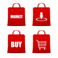 Set of red shopping bags for intrenet and printing Royalty Free Stock Photos