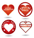 Set of red special promotion label. Royalty Free Stock Photo