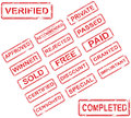 Set of 17 red stamps Royalty Free Stock Photo
