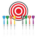 Set of red target and colorful darts Stock Photos
