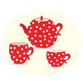 Set of red  teapot and cups Royalty Free Stock Photography