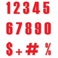 Set of Red ten numbers form zero to nine, number flat design. Red color numbers and percent sign vector eps10.