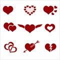 Set of red valentine hearth love symbols Royalty Free Stock Photo