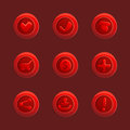 Set of red vector elements for ui game gamedev buttons Stock Photo