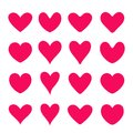 Set of red vector hearts. Flat style.