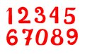 Set of red vector numbers isolated on white background Royalty Free Stock Photo